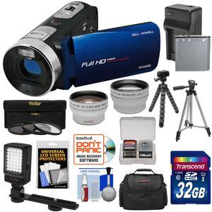Bell and Howell Fun Flix DV50HD 1080p HD Video Camera Camcorder-Blue-with 32GB and Battery and Charger and Case and Tripod and LED and Filters and Tele-Wide Lens Kit