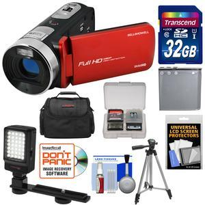 Bell and Howell Fun Flix DV50HD 1080p HD Video Camera Camcorder-Red-with 32GB Card and Battery and Case and Tripod and LED Video Light and Kit