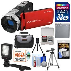 Bell and Howell Fun Flix DV50HD 1080p HD Video Camera Camcorder-Red-with 32GB Card and Battery and Case and Tripods and LED Video Light and Kit
