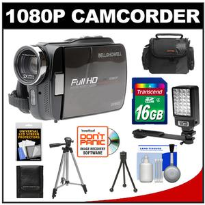 Bell & Howell DV5HDZ ZoomTouch 1080p HD High Definition Digital Video Camcorder & Case with 16GB Card + Case + Tripod + LED Video Light + Accessory Kit