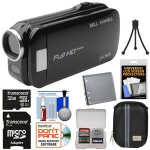 Bell and Howell Slice2 DV7HD 1080p HD Slim Video Camera Camcorder-Black-with 32GB Card and Battery and Case and Tripod and Kit