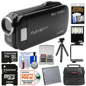 Bell and Howell Slice2 DV7HD 1080p HD Slim Video Camera Camcorder-Black-with 32GB Card and Battery and Case and Flex Tripod and LED Video Light and Kit