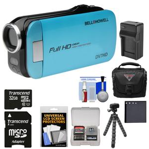 Bell and Howell Slice2 DV7HD 1080p HD Slim Video Camera Camcorder (Blue) with 32GB Card and Battery and Charger and Case and Flex Tripod and Kit
