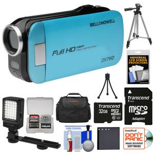 Bell and Howell Slice2 DV7HD 1080p HD Slim Video Camera Camcorder-Blue-with 32GB Card and Battery and Case and Tripods and LED Light and Kit