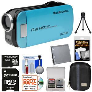 Bell and Howell Slice2 DV7HD 1080p HD Slim Video Camera Camcorder-Blue-with 32GB Card and Battery and Case and Tripod and Kit