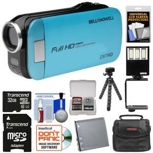 Bell and Howell Slice2 DV7HD 1080p HD Slim Video Camera Camcorder-Blue-with 32GB Card and Battery and Case and Flex Tripod and LED Video Light and Kit