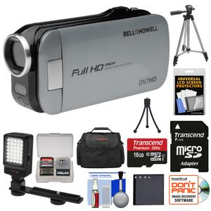 Bell and Howell Slice2 DV7HD 1080p HD Slim Video Camera Camcorder-Gray-with 16GB Card and Battery and Case and Tripods and LED Light and Kit