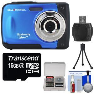 Bell and Howell Splash WP10 Shock and Waterproof Digital Camera-Blue-with 16GB Card and Tripod and Reader and Kit