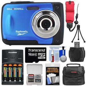 Bell and Howell Splash WP10 Shock and Waterproof Digital Camera-Blue-with 16GB Card and Batteries and Charger and Case and Mini Tripod and Floating Strap and Reader and Kit