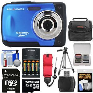 Bell and Howell Splash WP10 Shock and Waterproof Digital Camera-Blue-with 16GB Card and Batteries and Charger and Case and Tripod and Floating Strap and Reader and Kit