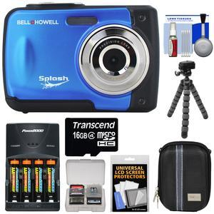 Bell and Howell Splash WP10 Shock and Waterproof Digital Camera-Blue-with 16GB Card and Batteries and Charger and Case and Flex Tripod and Kit