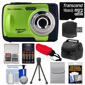Bell & Howell Splash WP10 Shock & Waterproof Digital Camera (Green) with 16GB Card/Reader + Case + Batteries/Charger + Tripod + Accessory Kit