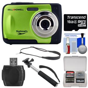 Bell & Howell Splash WP10 Shock & Waterproof Digital Camera (Green) with 16GB Card + Selfie Stick Monopod + Sling Strap + Kit