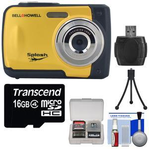 Bell and Howell Splash WP10 Shock and Waterproof Digital Camera-Yellow-with 16GB Card and Tripod and Reader and Kit