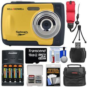 Bell and Howell Splash WP10 Shock and Waterproof Digital Camera-Yellow-with 16GB Card and Batteries and Charger and Case and Mini Tripod and Floating Strap and Reader and Kit