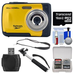 Bell & Howell Splash WP10 Shock & Waterproof Digital Camera (Yellow) with 16GB Card + Selfie Stick Monopod + Sling Strap + Kit