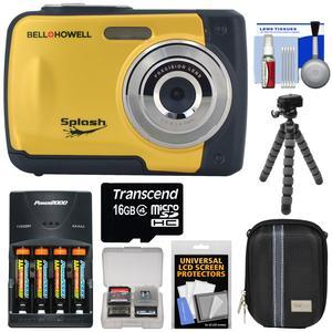 Bell and Howell Splash WP10 Shock and Waterproof Digital Camera-Yellow-with 16GB Card and Batteries and Charger and Case and Flex Tripod and Kit