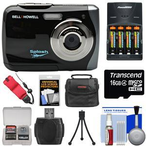 Bell and Howell Splash WP7 Waterproof Digital Camera-Black-with Batteries and Charger and 16GB Card and Case and Kit