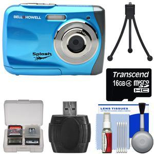 Bell and Howell Splash WP7 Waterproof Digital Camera-Blue-with 16GB Card and Tripod and Kit