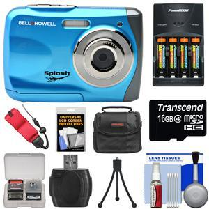 Bell and Howell Splash WP7 Waterproof Digital Camera-Blue-with Batteries and Charger and 16GB Card and Case and Kit