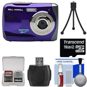 Bell and Howell Splash WP7 Waterproof Digital Camera-Purple-with 16GB Card and Tripod and Kit