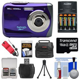 Bell and Howell Splash WP7 Waterproof Digital Camera-Purple-with Batteries and Charger and 16GB Card and Case and Kit