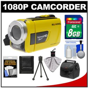 Bell and Howell Splash HD WV30 Waterproof Digital Video Camera Camcorder-Yellow-with 8GB Card and Case and Flex Tripod and Accessory Kit