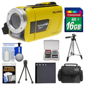 Bell and Howell Splash HD WV30 Waterproof Digital Video Camera Camcorder-Yellow-with 16GB Card and Case and Battery and 2 Tripods and Accessory Kit