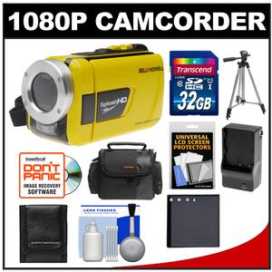 Bell & Howell Splash HD WV30 Waterproof Digital Video Camera Camcorder (Yellow) with 32GB Card + Case + Battery & Charger + Tripod + Accessory Kit