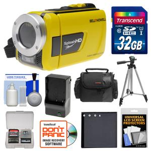 Bell and Howell Splash HD WV30 Waterproof Digital Video Camera Camcorder-Yellow-with 32GB Card and Case and Battery and Charger and Tripod and Accessory Kit