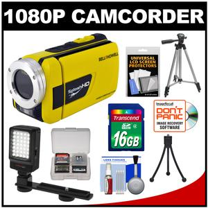 Bell & Howell Splash HD WV30 Waterproof Digital Video Camera Camcorder (Yellow) with 16GB Card + LED Light & Bracket + 2 Tripods + Accessory Kit