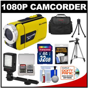 Bell and Howell Splash HD WV30 Waterproof Digital Video Camera Camcorder-Yellow-with 32GB Card and Case and LED Light and Bracket and 2 Tripods and Accessory Kit