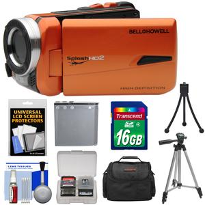 Bell and Howell Splash HD WV50 Waterproof Digital Video Camera Camcorder-Orange-with 16GB Card and Battery and Case and Tripods and Kit