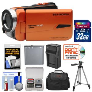 Bell and Howell Splash HD WV50 Waterproof Digital Video Camera Camcorder-Orange-with 32GB Card and Battery and Charger and Case and Tripod and Kit