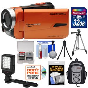 Bell and Howell Splash HD WV50 Waterproof Digital Video Camera Camcorder-Orange-with 32GB Card and LED Light and Backpack Case and Tripod and Kit
