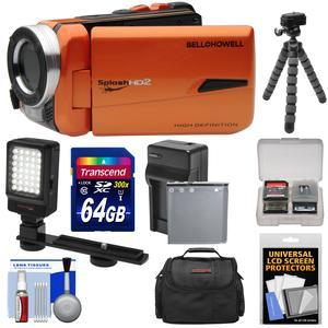 Bell and Howell Splash HD WV50 Waterproof Digital Video Camera Camcorder-Orange-with 64GB Card and Battery and Charger and Case and Flex Tripod and LED Light and Kit