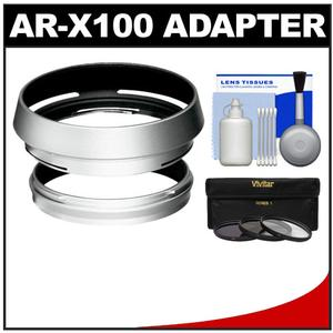 Bower AR-X100 Adapter Ring & Hood for Fuji X100/X100S/X100T Camera (49mm) with 3 UV/CPL/ND8 Filters + Cleaning Kit