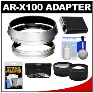 Bower AR-X100 Adapter Ring & Hood for Fuji X100/X100S/X100T Camera (49mm) with NP-95 Battery + Telephoto/Wide-Angle Lenses + 3 UV/CPL/ND8 Filters Kit