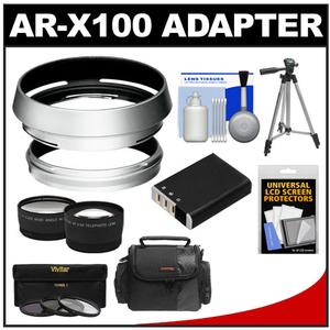 Deals Bower AR-X100 Adapter Ring & Hood for Fuji X100/X100S/X100T Camera (49mm) with Case + Battery + Tripod + Telephoto/Wide-Angle Lenses + 3 UV/CPL/ND8 Filters Kit Before Too Late