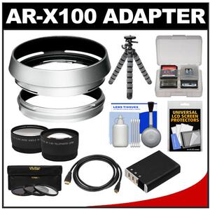 Bower AR-X100 Adapter Ring & Hood for Fuji X100/X100S/X100T Camera (49mm) with Battery + Tripod + HDMI Cable + Telephoto/Wide-Angle Lenses + 3 UV/CPL/ND8 Filter Kit