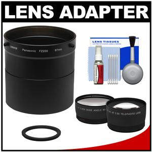 Bower AFZP200 Conversion Adapter Tube for Panasonic Lumix DMC-FZ200 Camera-67mm-with 2.5x Tele and .45x Wide Angle Lens Set and Cleaning Kit