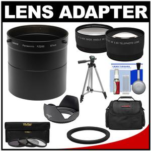 Bower AFZP200 Conversion Adapter Tube for Panasonic Lumix DMC-FZ200 Camera-67mm-with 2.5x Tele and .45x Wide Angle Lenses and Hood and 3 Filters and Case and Tripod Kit