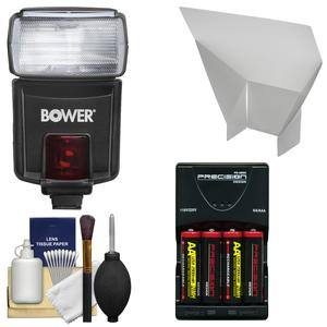 Bower SFD926O Digital Autofocus Power Zoom Flash-for Olympus-Panasonic-with Batteries and Reflector and Kit