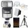 Bower SFD970 2-in-1 Power Zoom Flash & LED Video Light (for Canon EOS E-TTL) with Batteries & Charger + Diffusers + Tripod + Accessory Kit