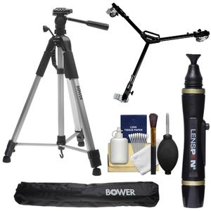 Bower VTSL7200 72 inch Digital Photo/Video Camera Tripod Steady-Lift Series with Case with W3 Universal Dolly + Lenspen + Accessory Kit