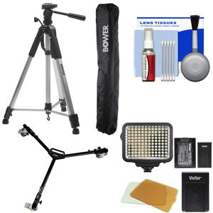 Bower VTSL7200 72 inch Digital Photo/Video Camera Tripod Steady-Lift Series with Case with W3 Universal Dolly and Video Light and Accessory Kit
