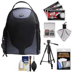 Bower SCB1350 Photo Pack Backpack Case-Black-with Deluxe Photo-Video Tripod and Cleaning Kit