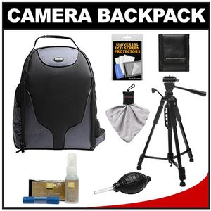 Bower SCB1350 Photo Pack Backpack Case-Black-with Deluxe Photo-Video Tripod and Nikon Cleaning Kit