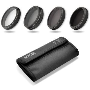 Bower 4-Piece UV-CPL-ND4-ND8 Filter Kit and Case for DJI Phantom 3 and 4 Drone