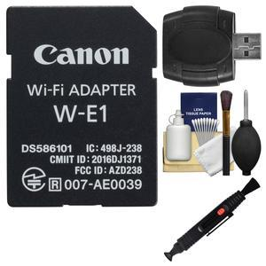 Canon W-E1 Wi-Fi Mobile Adapter for EOS 7D Mark II EOS 5DS EOS 5DS R Cameras with Card Reader + Cleaning Kit